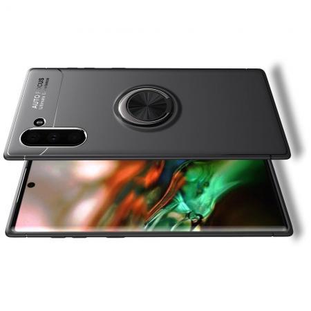 Силиконовый Чехол для Магнитного Держателя с Кольцом для Пальца Подставкой для Samsung Galaxy Note 10 Черный