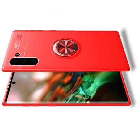 Силиконовый Чехол для Магнитного Держателя с Кольцом для Пальца Подставкой для Samsung Galaxy Note 10 Красный
