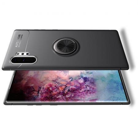 Силиконовый Чехол для Магнитного Держателя с Кольцом для Пальца Подставкой для Samsung Galaxy Note 10 Plus Черный