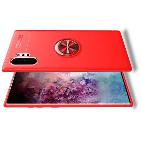 Силиконовый Чехол для Магнитного Держателя с Кольцом для Пальца Подставкой для Samsung Galaxy Note 10 Plus Красный