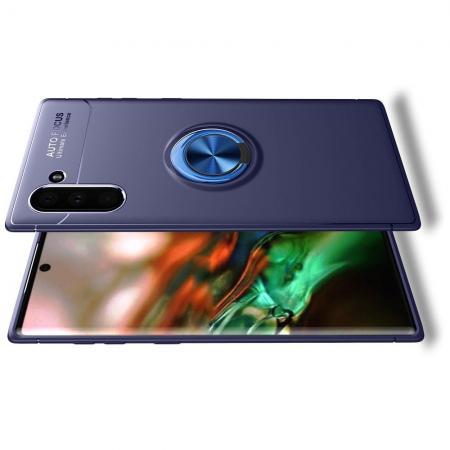 Силиконовый Чехол для Магнитного Держателя с Кольцом для Пальца Подставкой для Samsung Galaxy Note 10 Синий