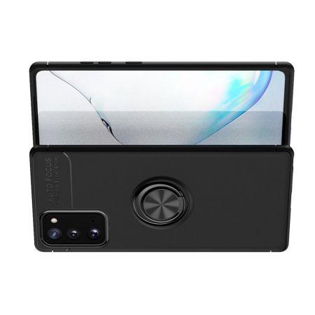 Силиконовый Чехол для Магнитного Держателя с Кольцом для Пальца Подставкой для Samsung Galaxy Note 20 Черный