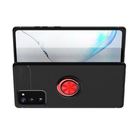 Силиконовый Чехол для Магнитного Держателя с Кольцом для Пальца Подставкой для Samsung Galaxy Note 20 Красный / Черный