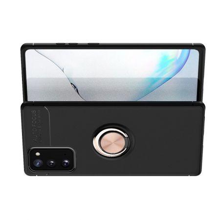 Силиконовый Чехол для Магнитного Держателя с Кольцом для Пальца Подставкой для Samsung Galaxy Note 20 Розовое Золото / Черный