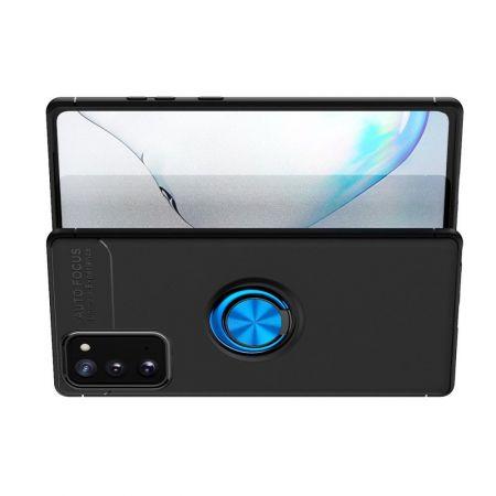 Силиконовый Чехол для Магнитного Держателя с Кольцом для Пальца Подставкой для Samsung Galaxy Note 20 Синий / Черный