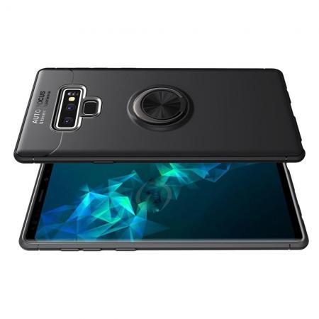 Силиконовый Чехол для Магнитного Держателя с Кольцом для Пальца Подставкой для Samsung Galaxy Note 9 Черный