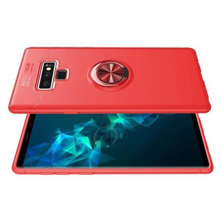 Силиконовый Чехол для Магнитного Держателя с Кольцом для Пальца Подставкой для Samsung Galaxy Note 9 Красный