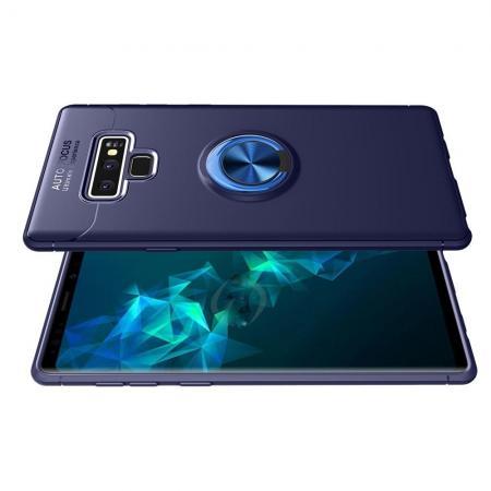 Силиконовый Чехол для Магнитного Держателя с Кольцом для Пальца Подставкой для Samsung Galaxy Note 9 Синий