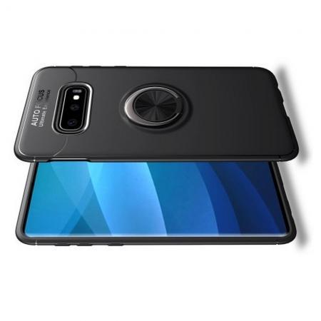 Силиконовый Чехол для Магнитного Держателя с Кольцом для Пальца Подставкой для Samsung Galaxy S10e Черный