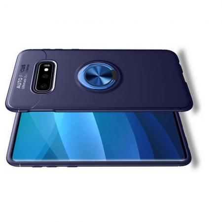 Силиконовый Чехол для Магнитного Держателя с Кольцом для Пальца Подставкой для Samsung Galaxy S10e Синий
