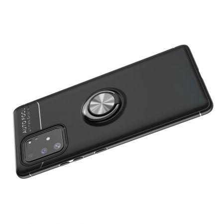 Силиконовый Чехол для Магнитного Держателя с Кольцом для Пальца Подставкой для Samsung Galaxy S10 Lite Серебро / Черный