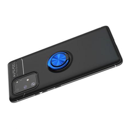 Силиконовый Чехол для Магнитного Держателя с Кольцом для Пальца Подставкой для Samsung Galaxy S10 Lite Синий / Черный