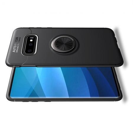 Силиконовый Чехол для Магнитного Держателя с Кольцом для Пальца Подставкой для Samsung Galaxy S10 Plus Черный