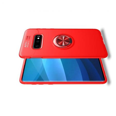 Силиконовый Чехол для Магнитного Держателя с Кольцом для Пальца Подставкой для Samsung Galaxy S10 Plus Красный