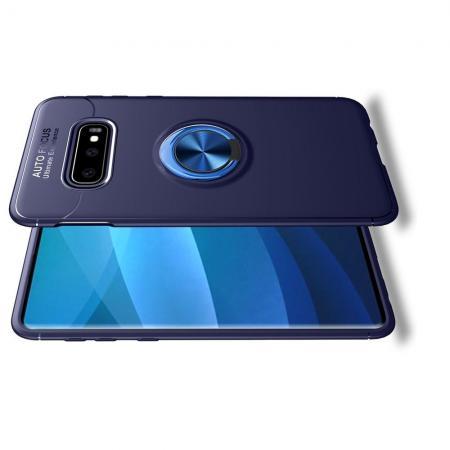 Силиконовый Чехол для Магнитного Держателя с Кольцом для Пальца Подставкой для Samsung Galaxy S10 Plus Синий