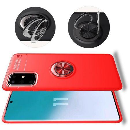 Силиконовый Чехол для Магнитного Держателя с Кольцом для Пальца Подставкой для Samsung Galaxy S20 FE Красный