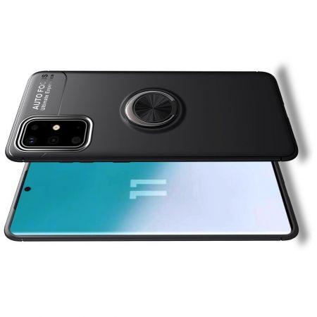 Силиконовый Чехол для Магнитного Держателя с Кольцом для Пальца Подставкой для Samsung Galaxy S20 Plus Черный