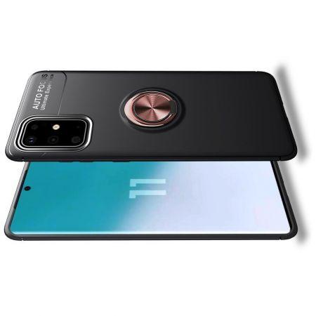 Силиконовый Чехол для Магнитного Держателя с Кольцом для Пальца Подставкой для Samsung Galaxy S20 Plus Розовое Золото / Черный