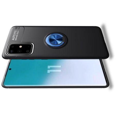 Силиконовый Чехол для Магнитного Держателя с Кольцом для Пальца Подставкой для Samsung Galaxy S20 Plus Синий / Черный