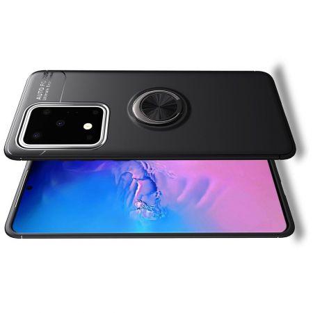 Силиконовый Чехол для Магнитного Держателя с Кольцом для Пальца Подставкой для Samsung Galaxy S20 Ultra Черный