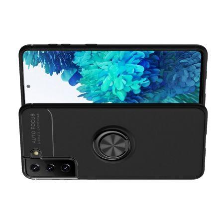 Силиконовый Чехол для Магнитного Держателя с Кольцом для Пальца Подставкой для Samsung Galaxy S21 Plus / S21+ Черный