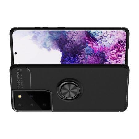 Силиконовый Чехол для Магнитного Держателя с Кольцом для Пальца Подставкой для Samsung Galaxy S21 Ultra Черный