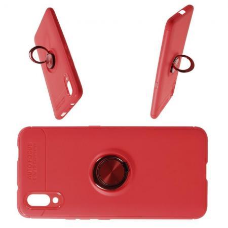 Силиконовый Чехол для Магнитного Держателя с Кольцом для Пальца Подставкой для Vivo NEX S Красный