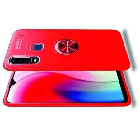 Силиконовый Чехол для Магнитного Держателя с Кольцом для Пальца Подставкой для Vivo Y12 / Y15 / Y17 Красный