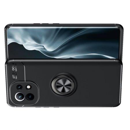 Силиконовый Чехол для Магнитного Держателя с Кольцом для Пальца Подставкой для Xiaomi Mi 11 Черный