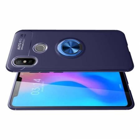 Силиконовый Чехол для Магнитного Держателя с Кольцом для Пальца Подставкой для Xiaomi Mi 8 Синий
