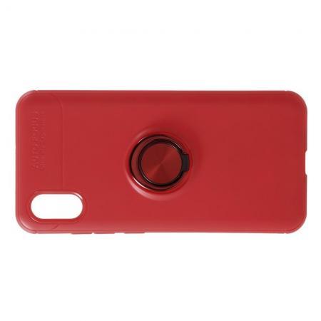 Силиконовый Чехол для Магнитного Держателя с Кольцом для Пальца Подставкой для Xiaomi Mi 8 Explorer Красный