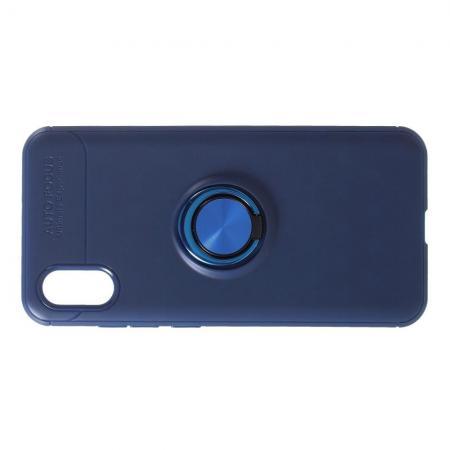 Силиконовый Чехол для Магнитного Держателя с Кольцом для Пальца Подставкой для Xiaomi Mi 8 Explorer Синий