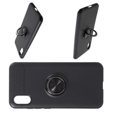 Силиконовый Чехол для Магнитного Держателя с Кольцом для Пальца Подставкой для Xiaomi Mi 8 Explorer Черный