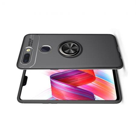Силиконовый Чехол для Магнитного Держателя с Кольцом для Пальца Подставкой для Xiaomi Mi 8 Lite Черный