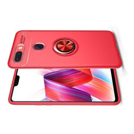 Силиконовый Чехол для Магнитного Держателя с Кольцом для Пальца Подставкой для Xiaomi Mi 8 Lite Красный