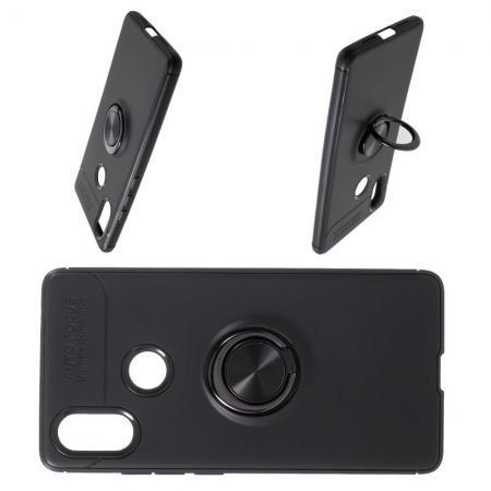 Силиконовый Чехол для Магнитного Держателя с Кольцом для Пальца Подставкой для Xiaomi Mi 8 SE Черный