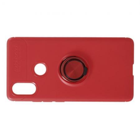 Силиконовый Чехол для Магнитного Держателя с Кольцом для Пальца Подставкой для Xiaomi Mi 8 SE Красный