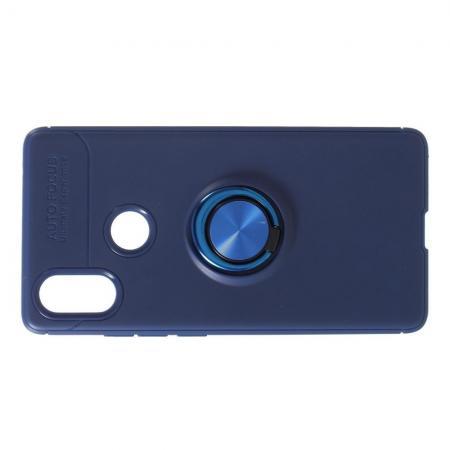 Силиконовый Чехол для Магнитного Держателя с Кольцом для Пальца Подставкой для Xiaomi Mi 8 SE Синий
