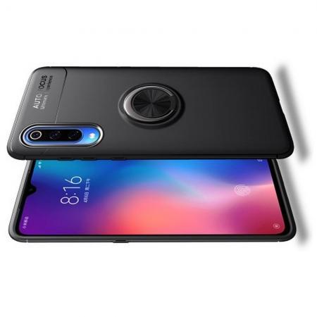 Силиконовый Чехол для Магнитного Держателя с Кольцом для Пальца Подставкой для Xiaomi Mi 9 Черный