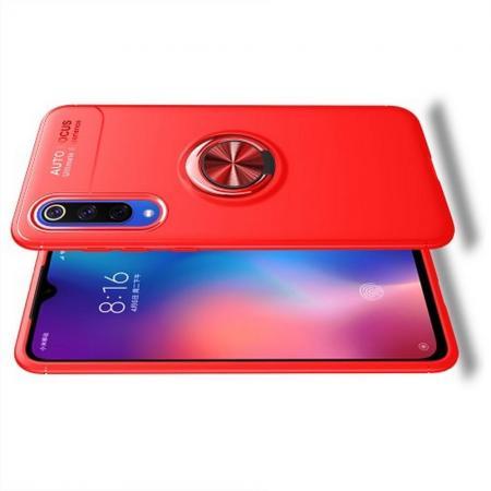 Силиконовый Чехол для Магнитного Держателя с Кольцом для Пальца Подставкой для Xiaomi Mi 9 SE Красный