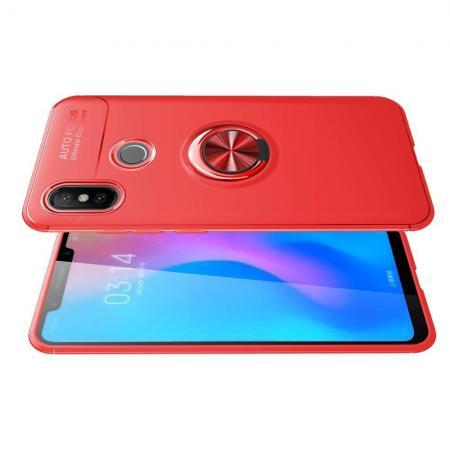 Силиконовый Чехол для Магнитного Держателя с Кольцом для Пальца Подставкой для Xiaomi Mi A2 / Mi 6X Красный