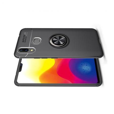 Силиконовый Чехол для Магнитного Держателя с Кольцом для Пальца Подставкой для Xiaomi Mi Max 3 Черный