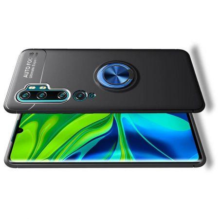Силиконовый Чехол для Магнитного Держателя с Кольцом для Пальца Подставкой для Xiaomi Mi Note 10 Синий / Черный