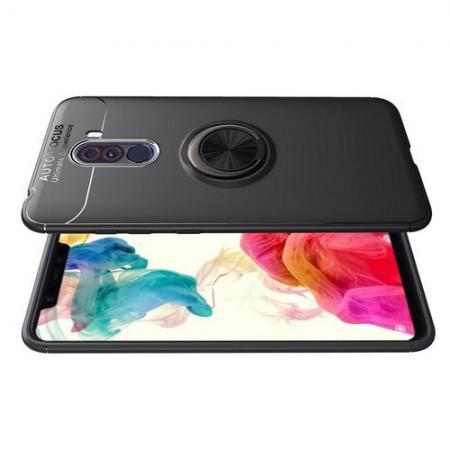 Силиконовый Чехол для Магнитного Держателя с Кольцом для Пальца Подставкой для Xiaomi Pocophone F1 Черный