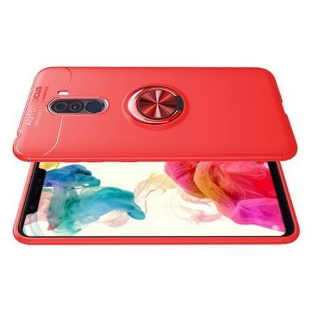 Силиконовый Чехол для Магнитного Держателя с Кольцом для Пальца Подставкой для Xiaomi Pocophone F1 Красный