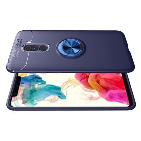 Силиконовый Чехол для Магнитного Держателя с Кольцом для Пальца Подставкой для Xiaomi Pocophone F1 Синий