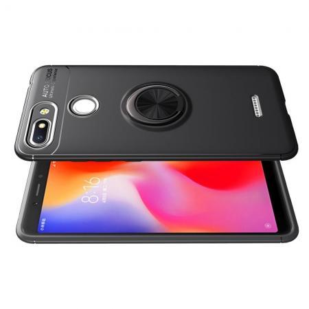 Силиконовый Чехол для Магнитного Держателя с Кольцом для Пальца Подставкой для Xiaomi Redmi 6 Черный