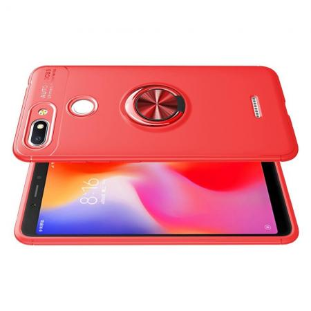 Силиконовый Чехол для Магнитного Держателя с Кольцом для Пальца Подставкой для Xiaomi Redmi 6 Красный