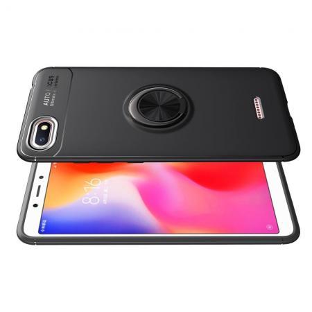 Силиконовый Чехол для Магнитного Держателя с Кольцом для Пальца Подставкой для Xiaomi Redmi 6A Черный