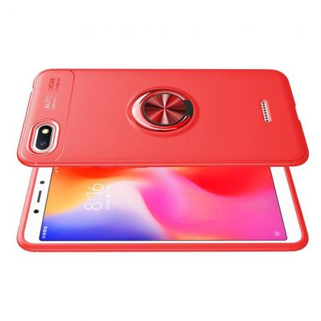 Силиконовый Чехол для Магнитного Держателя с Кольцом для Пальца Подставкой для Xiaomi Redmi 6A Красный